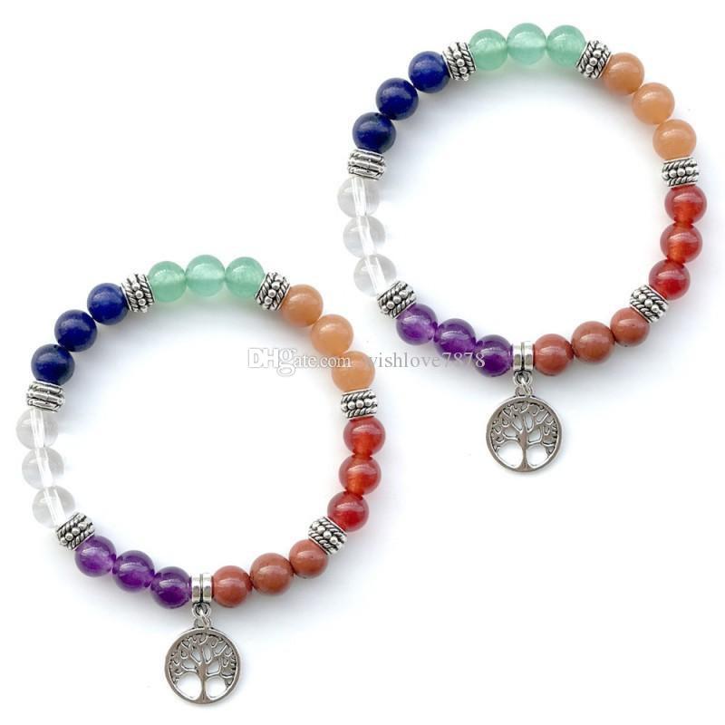 7 Chakras Tree of Life Pendant Bracelet Yoga Meditation Healing Balancing Round Stone Beads Stretch Bracelet Bangle Jewelry Gift