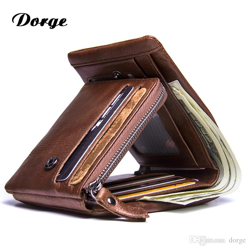 Men Crazy Horse Leather Trifold Credit Card Wallet With Button Coin Pocket