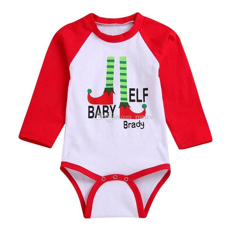 Bébé ELF Brady Lettre Imprimer Bébé Filles rouge Combinaisons Manches Longues Automne Enfants barboteuses Infant Toddler Filles Couleur Unie Stretch Bodys