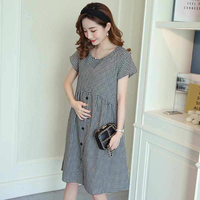 2021 Summer Fashion Maternity Dress Black Small Plaid Cotton Clothes For Pregnant Women Loose Pregnancy Clothing Wholesale From Mingway245 17 49 Dhgate Com