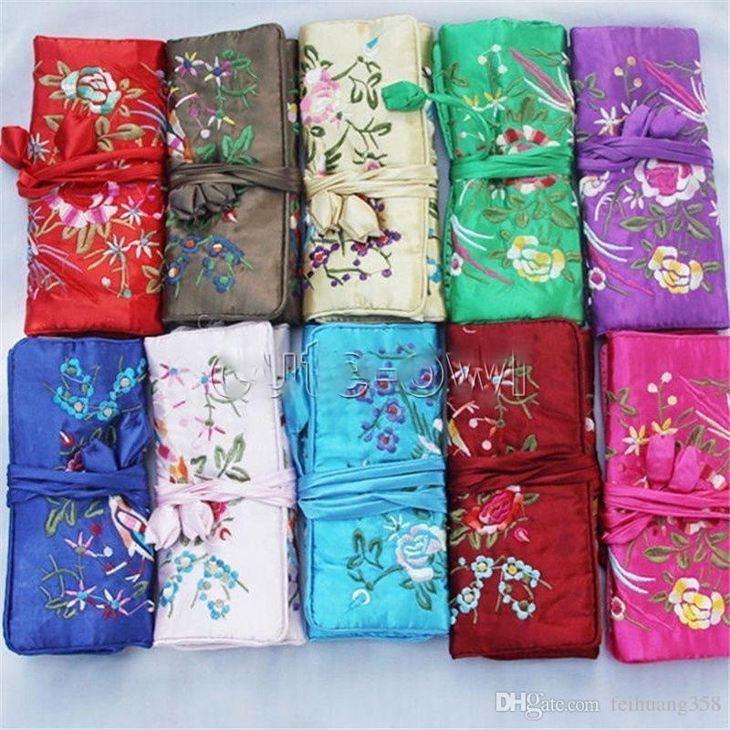 Toptan 5 adet / grup Moda Çin Tarzı El Yapımı İpek Işlemeli Takı rulo Çanta Kılıfı