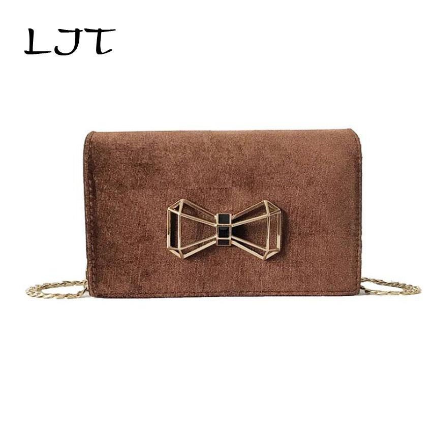 LJT 2018 Hot Korean Ladies Velvet Messenger Bag Small Cute Bow Tie Chain Crossbody Bag for Girls Evening Party Clutch Purse
