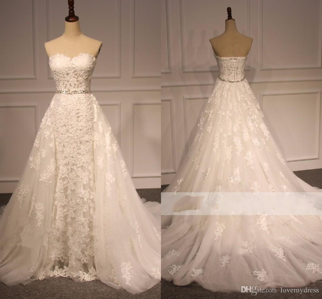 Detachable Train Designer Wedding Dresses Lace Sweetheart See Through Bling Crystal Ribbon Corset Back Cheap Court Train Wedding Gowns