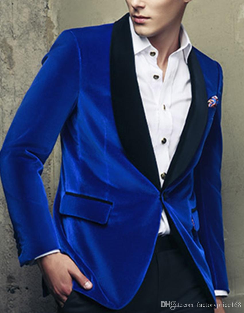 Vertrauenswürdige Groomsmen One Button Blue (Jacke + Hose + Krawatte) Bräutigam Smoking Groomsmen Best Man Anzug Mens Wedding Suits Birridegroom m139
