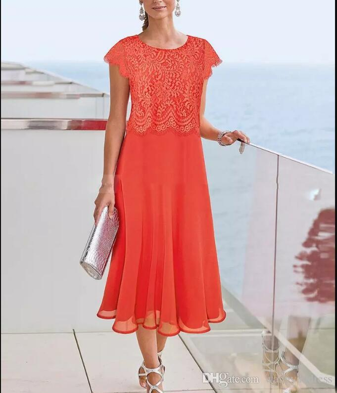 Tanie Długość Herbaty Matka panny Młodej Suknie Koronki Top Cap Rękawy Matki Formalne Party Wear Plus Size Evention Suknia