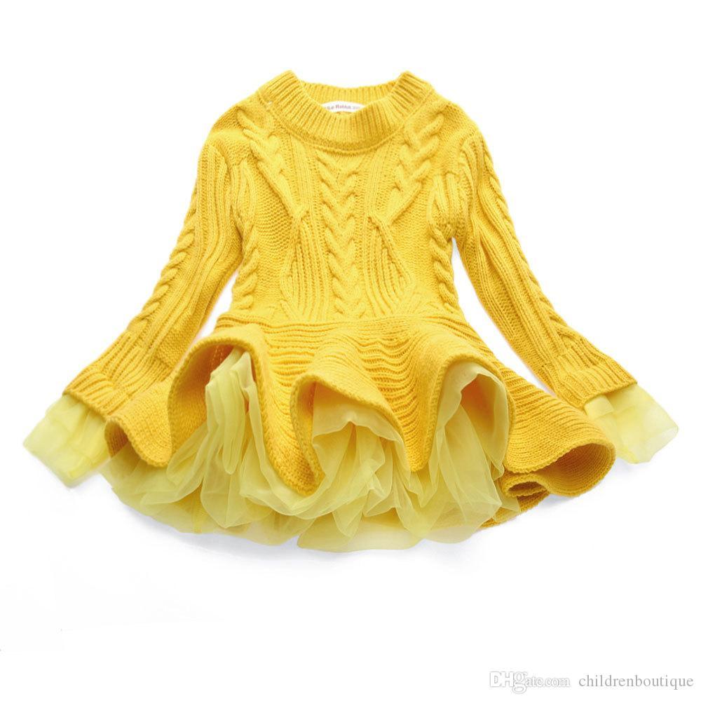 Boutique Filles Vêtements 2018 Date Bébé Filles Pull Tricoté Robe À Manches Longues En Dentelle Jacquard Robes Enfants Coton Chaud Manteau Tenues 7 Couleurs