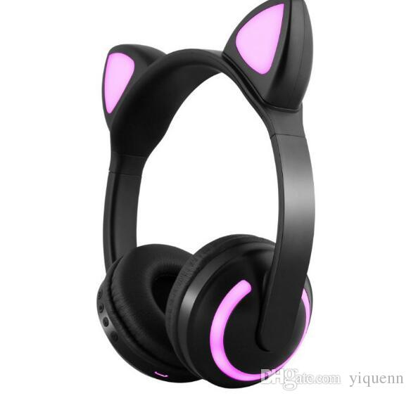 Cat Ear Headphones 7 Flashing Bright Ear Bluetooth Headset for Girls Kids Game Deer Devil Rabbit Ear Individually Wrapped