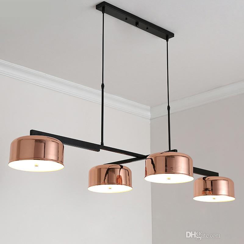 Modern Loft Industrial Chandeliers Rose Gold Hanging Light Dining Bedroom Kitchen Retro Luminaire Suspendu Led Chandelier Lamps Track Lighting Pendant