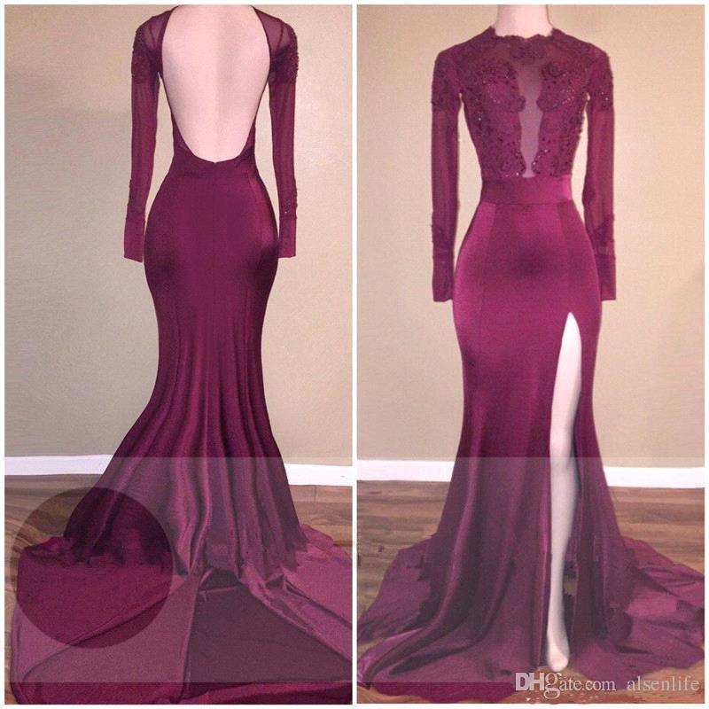 African Prom Dresses Open Back Long Sleeves Simple Prom Dresses Mermaid High Split Burgundy Black Girls Evening Gowns