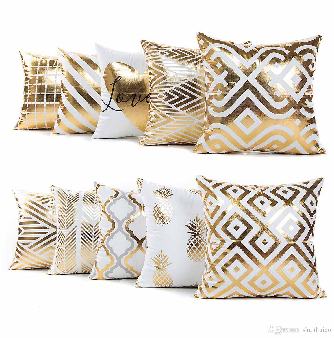 Cuscini Beige Per Divano acquista lamina doro abbronzante stampa pillowcase poliestere cuscino  decorativo divano cuscino del sedile 45x45 cm home decor a 1,77 € dal  shunhuico