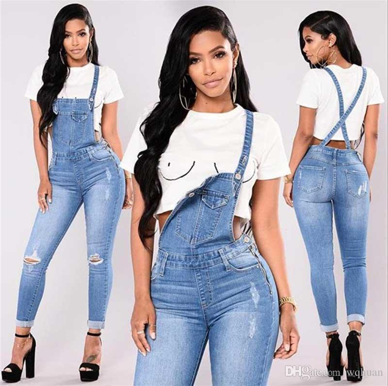 المرأة الجديدة وزرة أزياء جينز الأصفاد Capris الجينز ممزق مثير ارتداءها عارضة التسوق مجانا