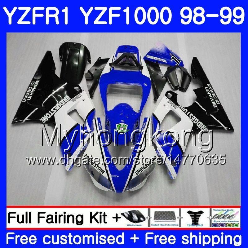 Carrozzeria per YAMAHA nero YZF R 1 YZF 1000 bianco lucido YZF1000 YZFR1 98 99 Telaio 235HM.7 YZF-1000 YZF-R1 98 99 Corpo YZF R1 1998 1999 Carenatura