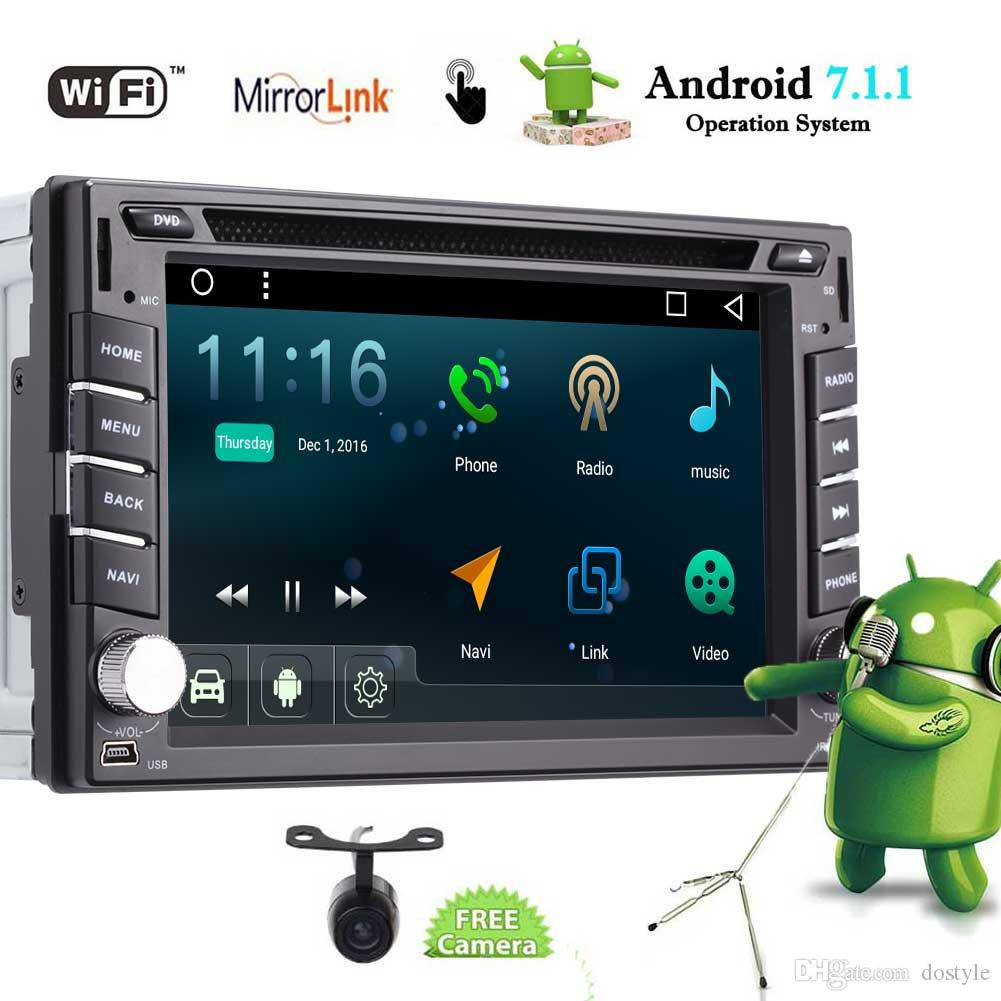 Android 7.1 Car Stereo Double Din Car DVD Player Autoradio Video FM/AM Radio Bluetooth in Dash 2Din GPS Navigation Wifi Mirrorlink
