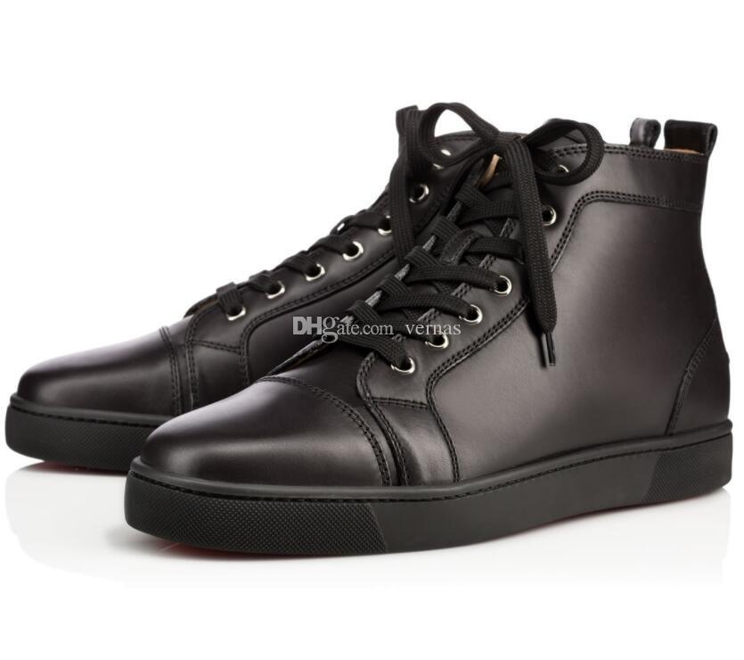 Vendita della fabbrica - nero, in pelle bianca uomo piatto High Top fondo rosso sneakers uomo famoso marchio di svago Louisflats partito matrimonio EU35-46