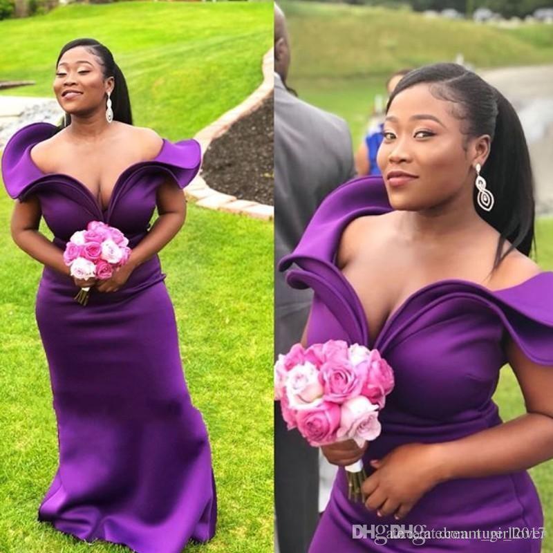 Deep Purple Vestidos largos de dama de honor Vestidos de moda Vestidos de fiesta de boda de sirena sin mangas en el hombro Vestidos de dama de honor sexy africana