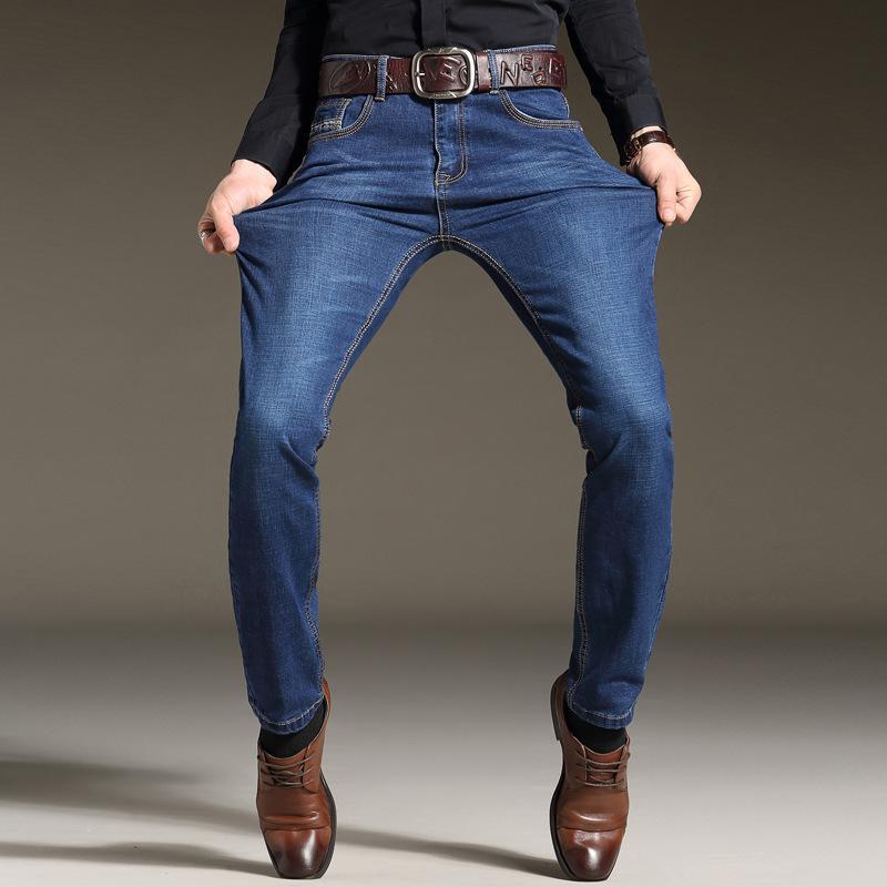 erkekler için erkek kot pantolon yeni varış elastik ince uygun tam boy akıllı rahat ağır düz kot kot pantolon