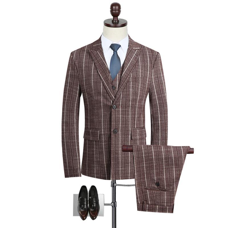 Coffee Chalk Striped Suit for Men Classic Business Suit Slim Fit Elegant Vintage Formal Wear Cheap Wedding Dress Suits M-5XL