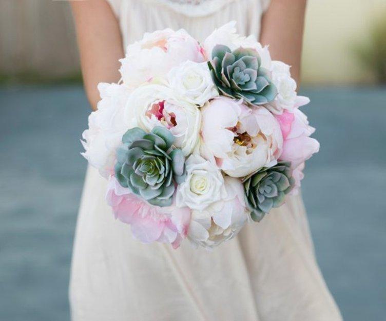 Seide Hochzeit saftiger Blumenstrauß - grüne graue Rosa und Blush Peonies Seidenblume Braut Blumenstrauß, Hochzeitszubehör