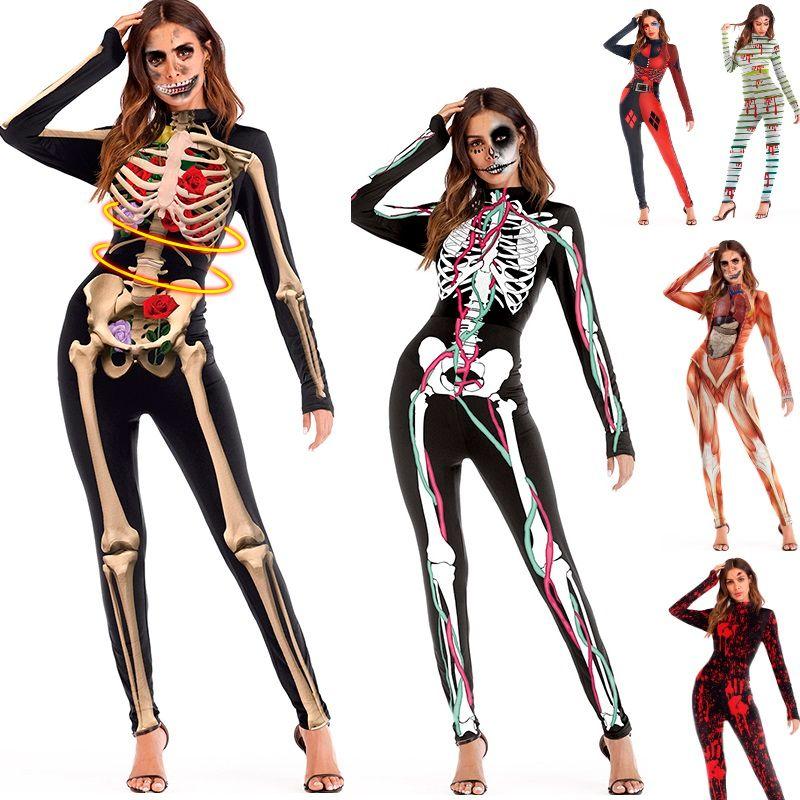 Esqueleto adulto Halloween Preto 3D Crânios Róseas Macacão Mulheres Jumpsuit Apertado Cos Traje DK0554BK