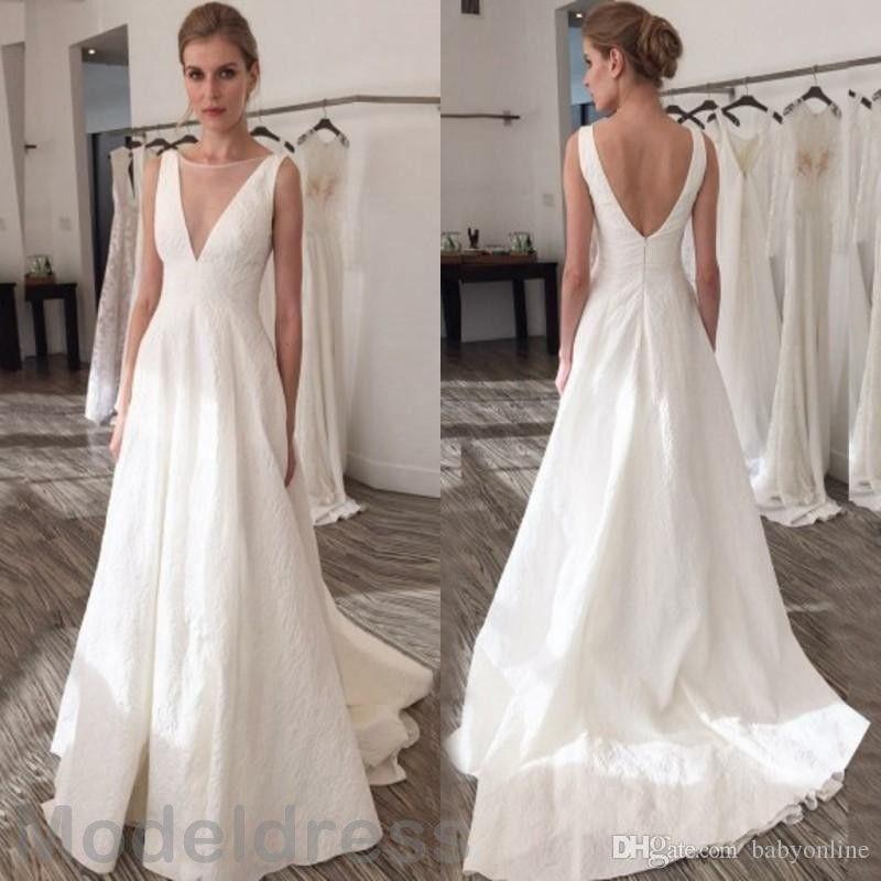 2018 vestidos elegantes de la boda de Boho Sheer cuello y espalda abierta de barrer de tren de marfil satinado tamaño más vestidos de novia africana por encargo barata