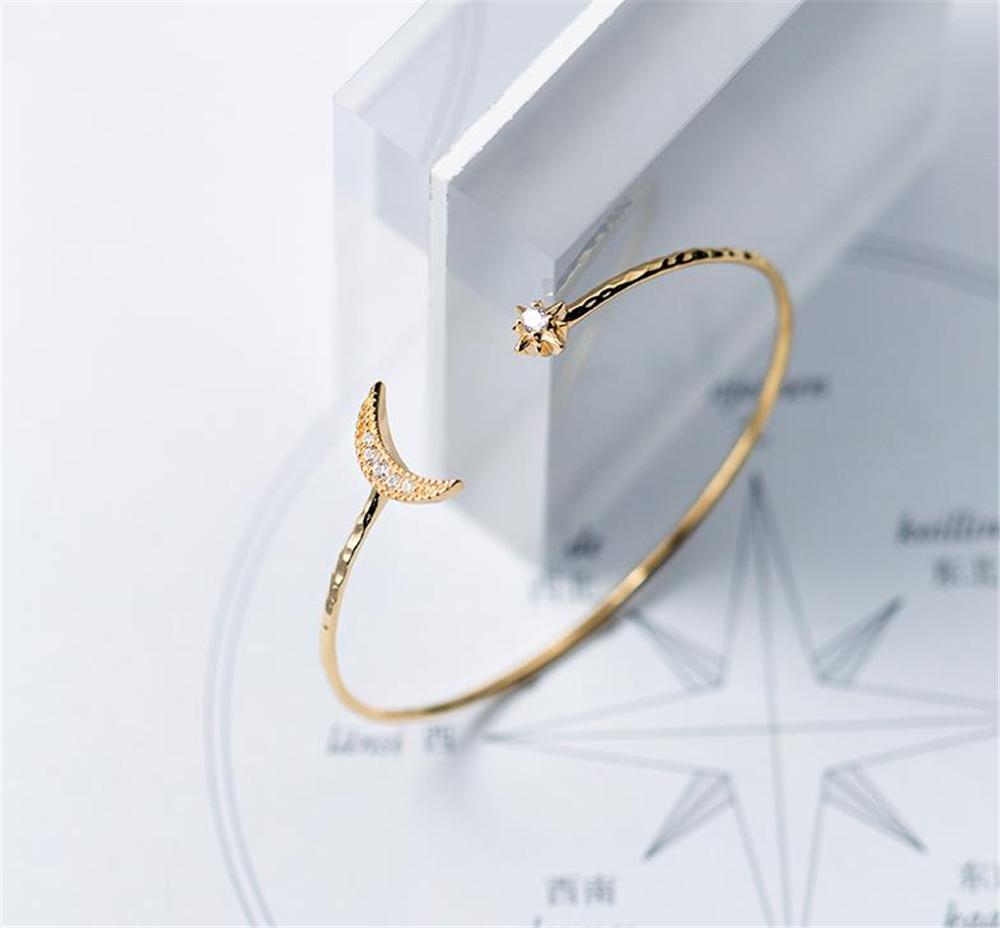 Altın ay Bileklik 925 gümüş takı Boho basit Charms Vintage minimalizm doğum günü hediyesi Takı bilezikler kadınlar için