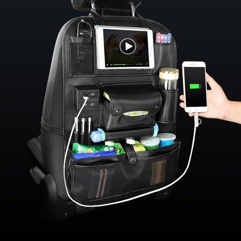 2019 자동 자동차 보관 가방 좌석 멀티 포켓 여행 보관 걸이 자동차 USB 충전기 시트 커버 주최자 홀더 뒷좌석