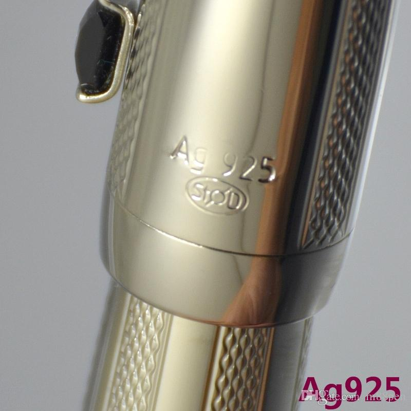 Высокое качество Silver AG925 металлическая роликовая шариковая ручка с драгоценными школьными канцелярскими канцтоварами Классический писать шариковые ручки для бизнес подарок