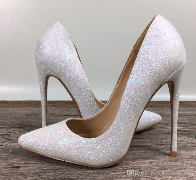 Neue Dame High Heels exklusive Marke Patent PU Schuhe Pailletten weibliche Modelle High Heels 8cm 10cm 12cm flacher Mund mit einem einzigen Schuhe 35-44