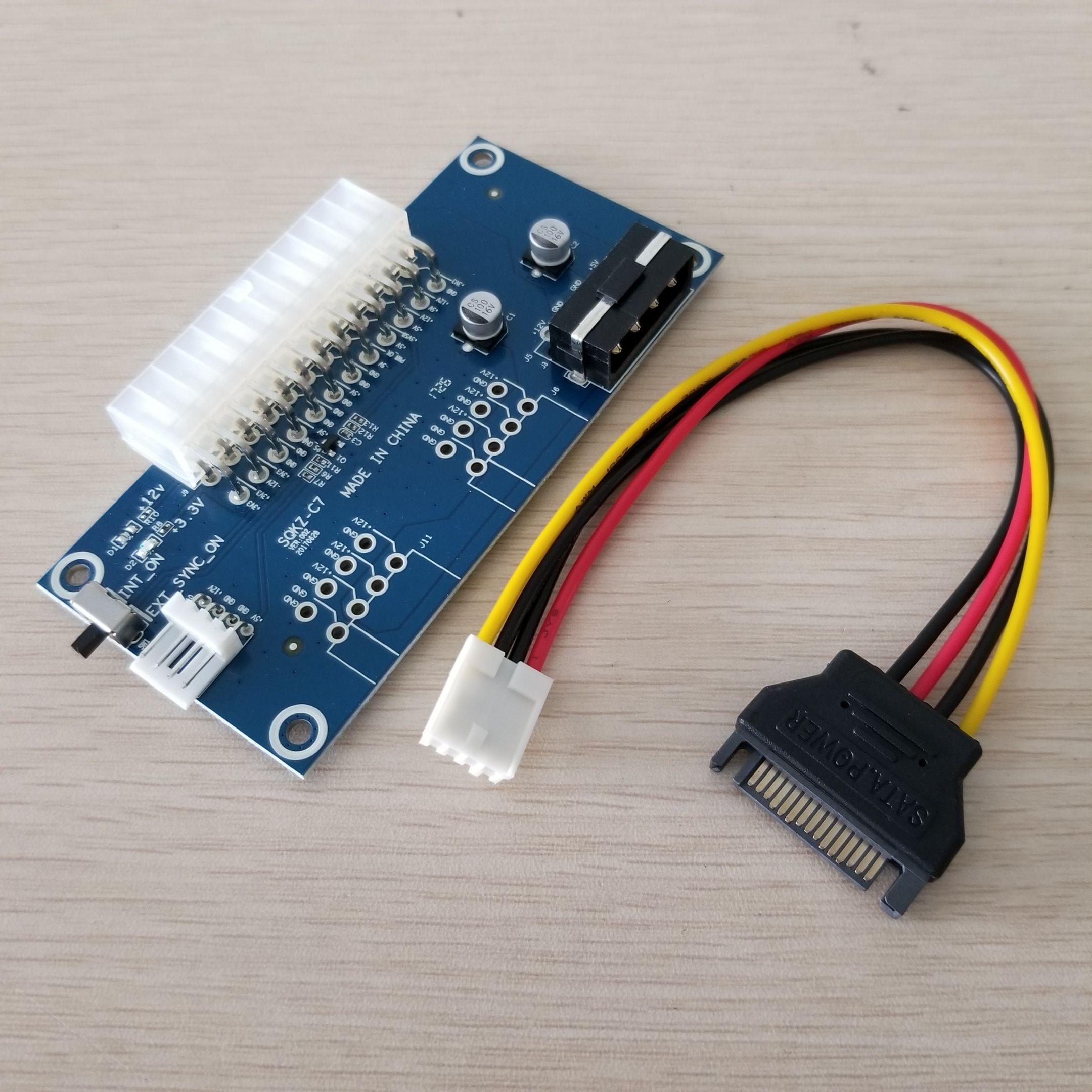 10 takım / grup PC Masaüstü ATX 24Pin Çift PSU Güç Kaynağı Sync Marş Extender Kablosu için Bitcoin Miner RIG DIY