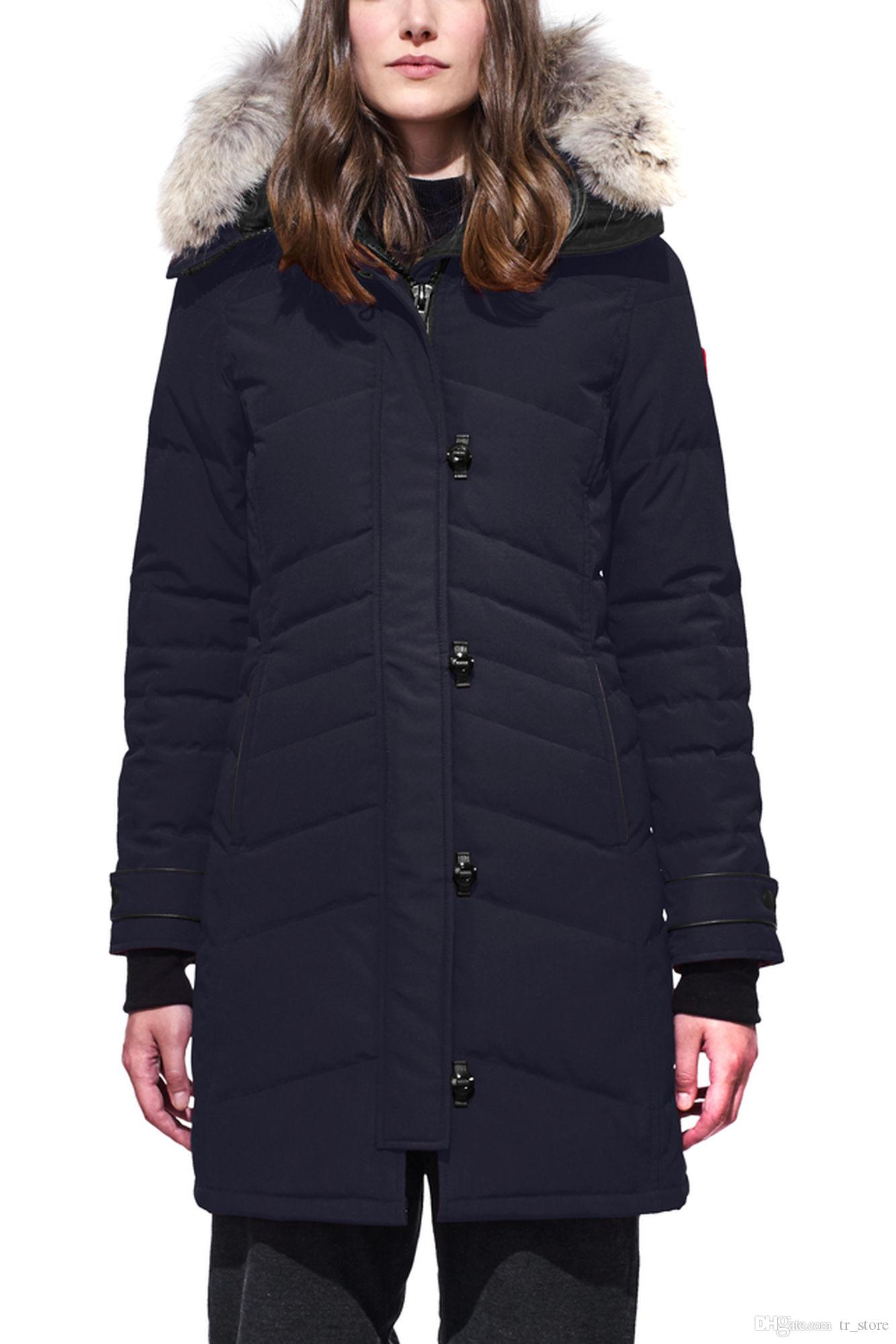 Mujeres Trillium Femme al aire libre chaqueta de piel abajo Hiver grueso cálido a prueba de viento Goose Down Coat espesar Fourrure chaqueta con capucha Manteaus Doudoune Q6
