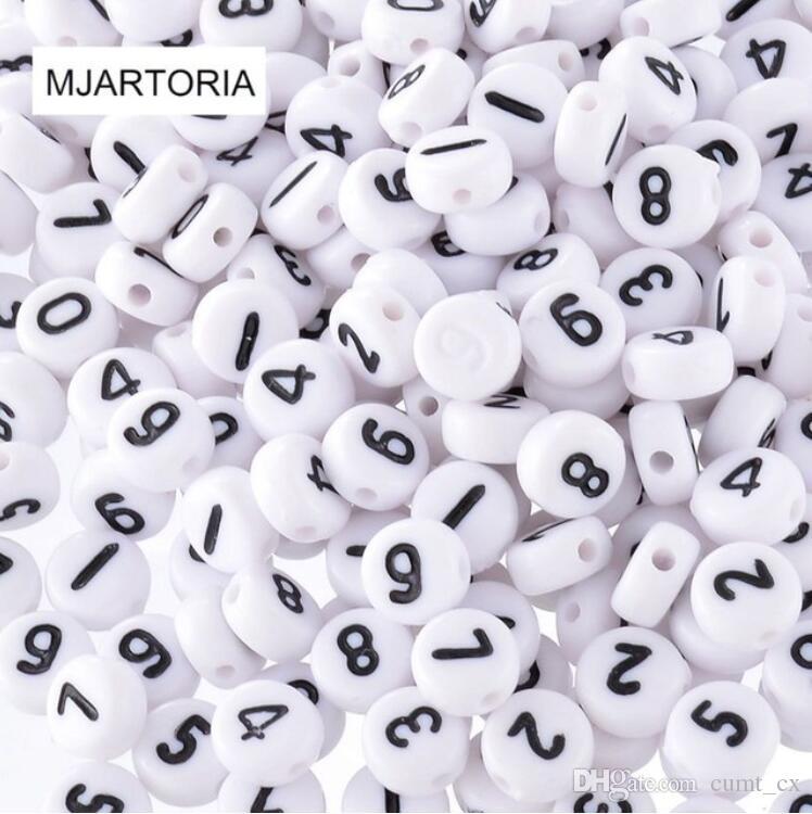 500 PCs Misturados Números de Acrílico Branco Spacer Beads 7mm Rodada Craved Números Beads Para Fazer Jóias Frete Grátis