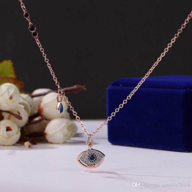 Fashion Eye Colliers Pendentifs Cristal Oeil Bleu Collier Bijoux
