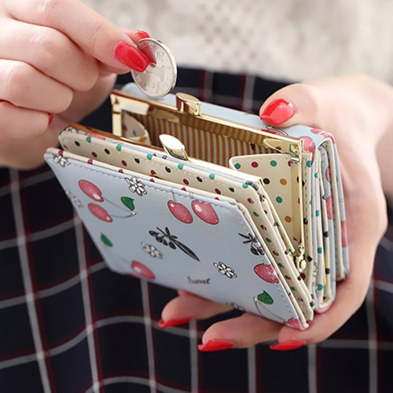 Portefeuille Femme Coréenne Mode Mignon Portefeuille En Cuir Cerise Imprimé Petites Femmes Sac À Main Carteira Feminina Cion Titulaire de la Carte De Poche