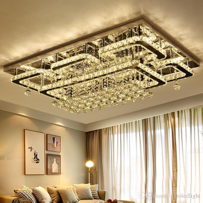 Lampadari Soffitto Quadrato luce lusso moderna LED soffitto di cristallo lampada a soffitto K9 di cristallo per Soggiorno Camera da letto Ristorante Light Fixtures