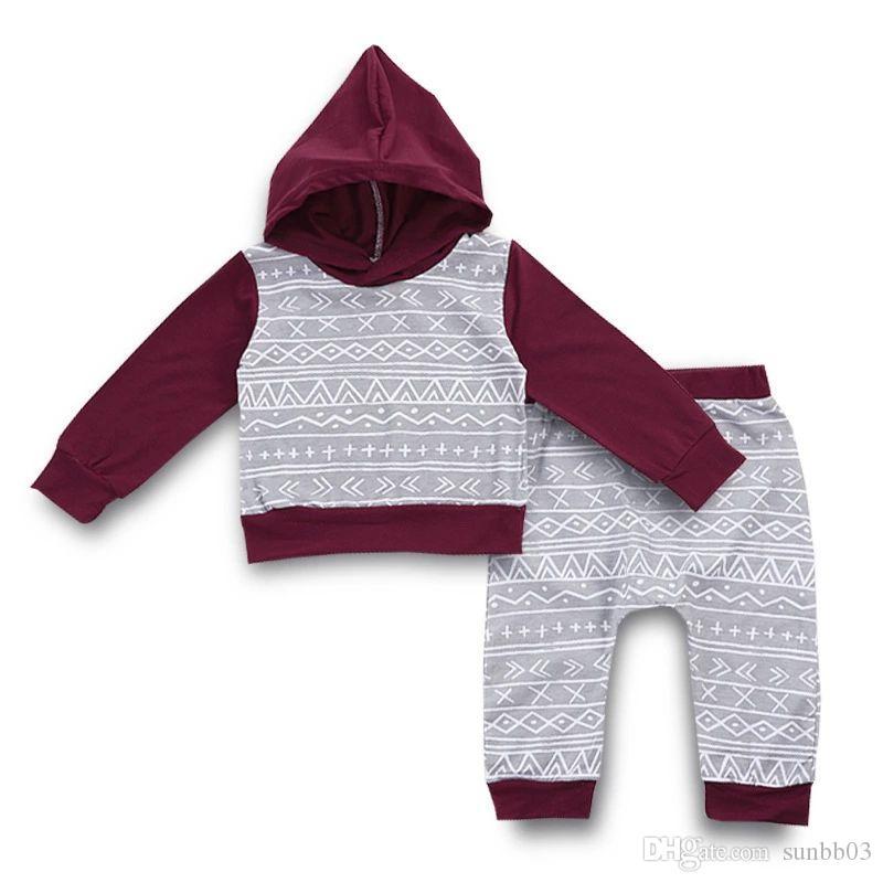 Ins младенческой Baby Boys набор дети с длинным рукавом с капюшоном толстовка футболка + брюки 2 шт. мальчик одежда набор Детская одежда 14311