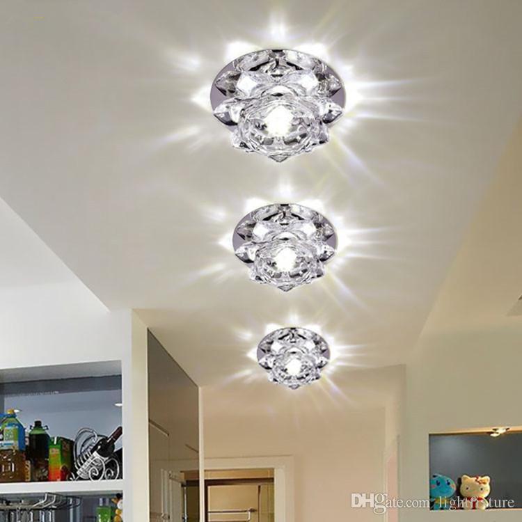 Luzes de teto de cristal Flores Holofotes para baixo luzes 5W Led Corredor Luz Criativa Sala Corredores Walkways Led