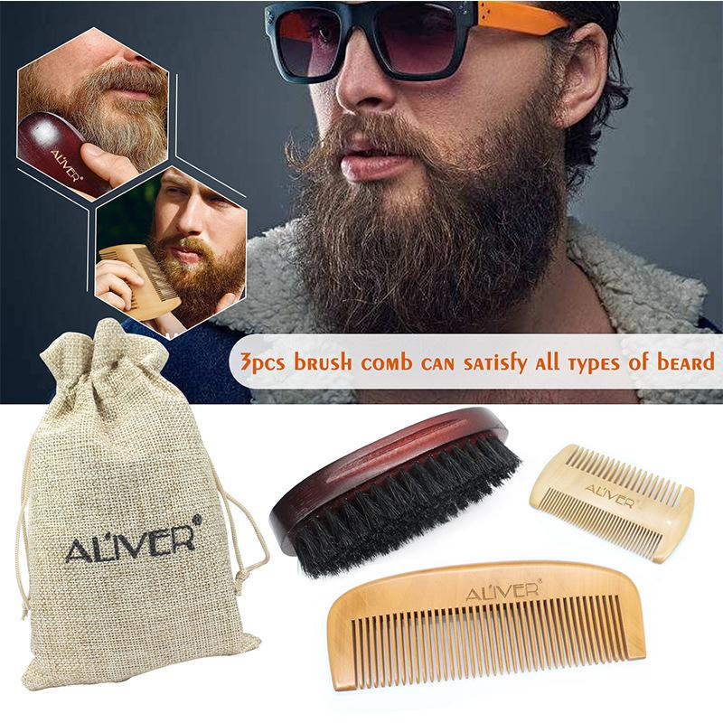 In Stock! Men Beard Combs Set Wild Boar Mane Tweezers Double-sided Comb Shape Tool 3pcs/set