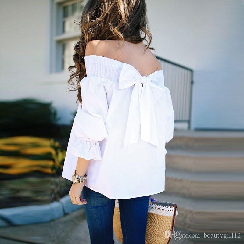 2018 Sexy Off Shoulder Tops Spring Summer Strapless Women Blouse Bowknot Slash Neck Shirts Casual Loose Blusas Plus Size