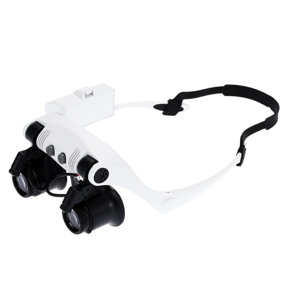 Freeshipping 10x 15x 20x 25x Magnifying Glass with 2 LED Light Head Wearing Magnifier Double Eye Jeweler Watch Clock Repair Loupe microscope
