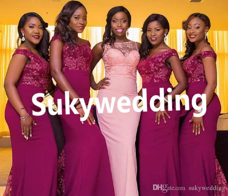 New African Lace Bridesmaid Dresses Mixed Style Nigerian Maid Of Honor Gowns Custom Made Wedding Party Gowns Plus Size Wedding Guest Dress