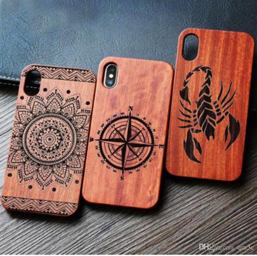 Casi di legno di logo su ordinazione di legno dell'incisione laser per Iphone 7 8 6 6s 5 5s X 10 Migliore copertura di legno del paraurti di bambù Eco S9 S7 della copertura del telefono