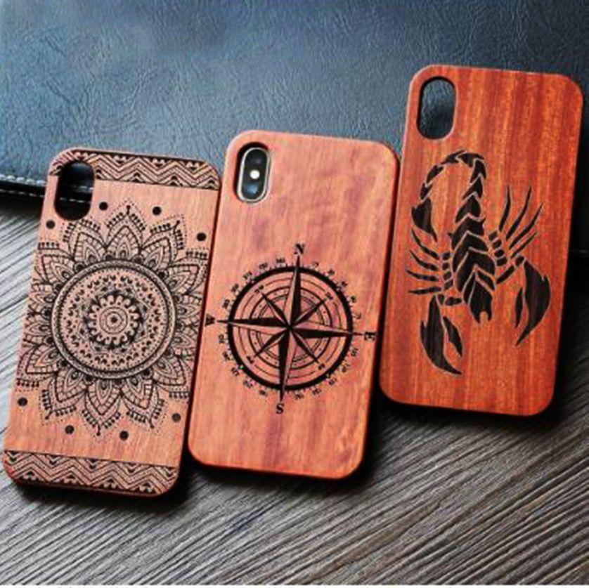 Cajas móviles del logotipo de encargo de madera del grabado del laser para Iphone 7 8 6 6s 5 5s X 10 Cajas móviles del mejor de madera del teléfono de la cubierta del teléfono de Eco S9 S8 S7