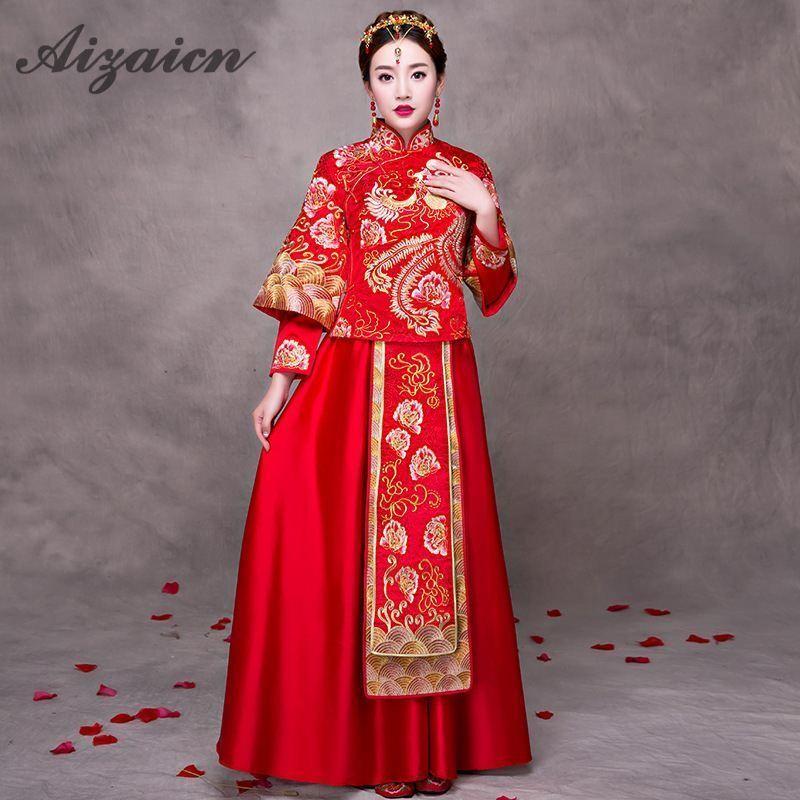 중국어 번체 웨딩 드레스 신부 cheongsam 여성 결혼 복장 빨간색 현대 qipao 동양 파티 드레스 골드 브로케이드 가운