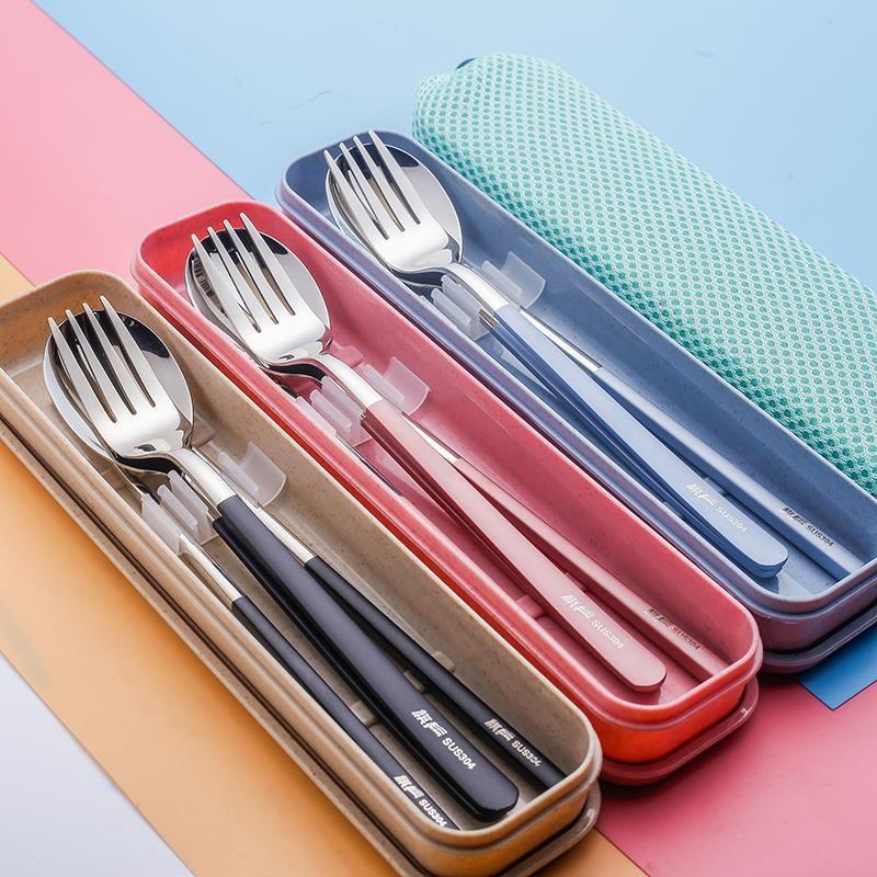 3шт/набор Набор столовых приборов палочки для еды Вилка Ложка набор для детей детей 304 нержавеющая сталь посуда