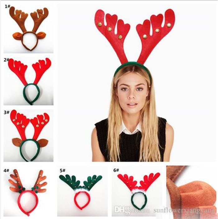 500 pcs Natal Antler Hair Bands Vermelho Não Tecido Headband Decorações de Natal Festa de Aniversário Fontes Do Partido