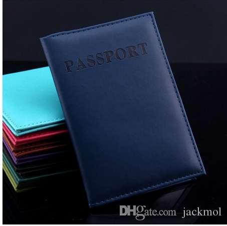 Multi-couleur en cuir artificiel porte-passeport couple modèles voyage couverture de passeport unisexe carte porte-carte