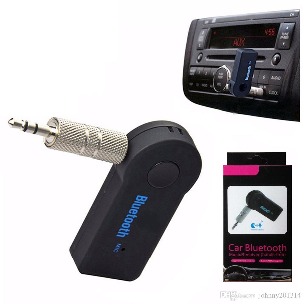 محول 3.5mm العالمي يدوي سيارة كيت بلوتوث A2DP اف ام الارسال اللاسلكي AUX الصوت استقبال الموسيقى مع هيئة التصنيع العسكري للهاتف MP3 صندوق البيع بالتجزئة
