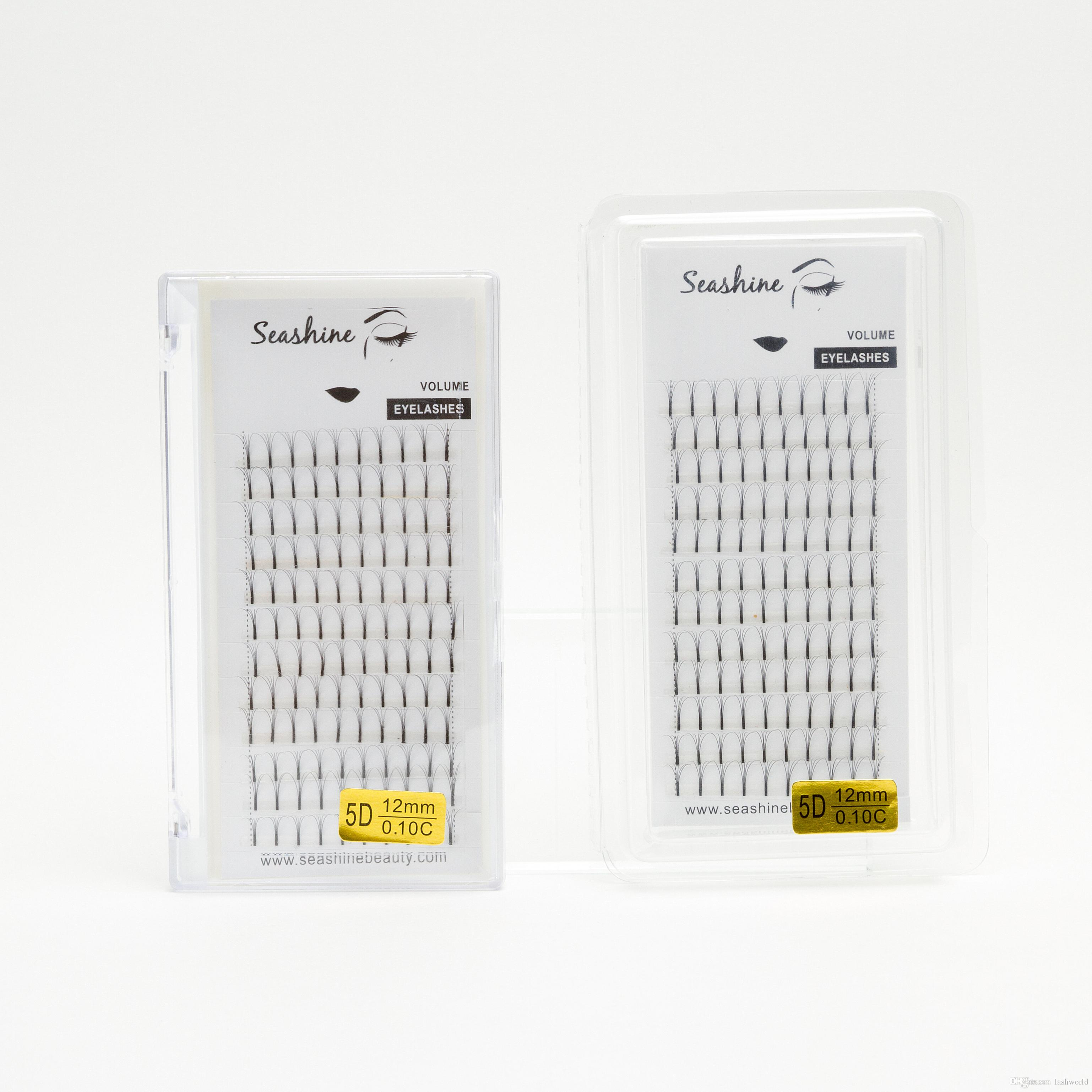 Seashine low prices false eyelashes russian volume 5d pre fanned eyelash CD curl 8-15 mm single length