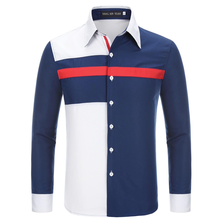 2018 yeni bahar ve yaz üç renk patchwork eğlence erkekler uzun kollu gömlek standı yaka gömlek