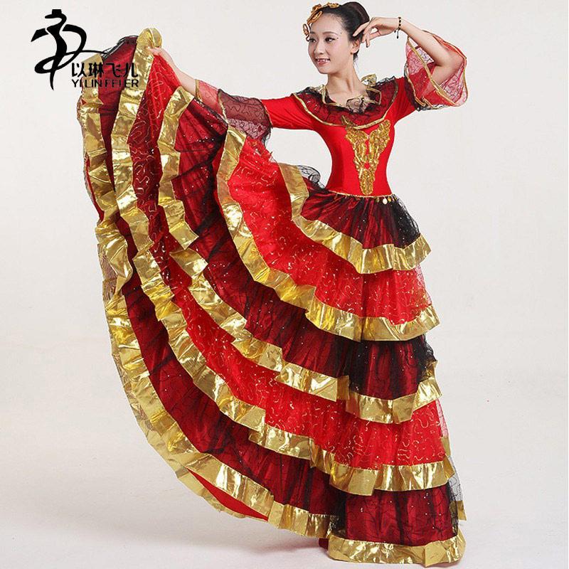 Flamenco dress espanha nova abertura vestido de dança / tango flamenco vestido de dança 360/540/720 grau / saias espanholas
